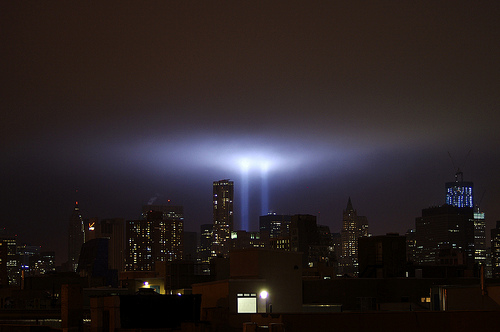 Tribute in Light with Freedom Tower September 11 2001 by David Shankbone