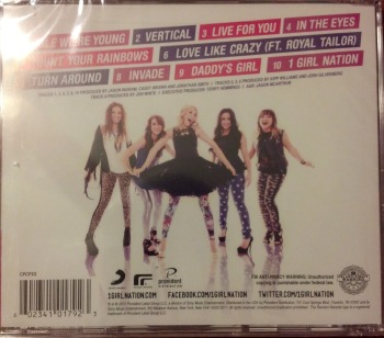 Back of 1 Girl Nation CD - jenniferajanes.com