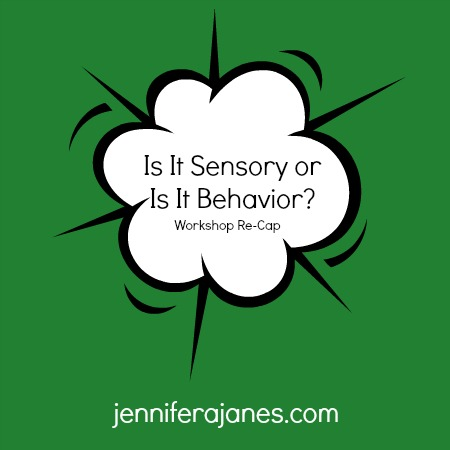 Is It Sensory or Is It Behavior Workshop Re-Cap - jenniferajanes.com