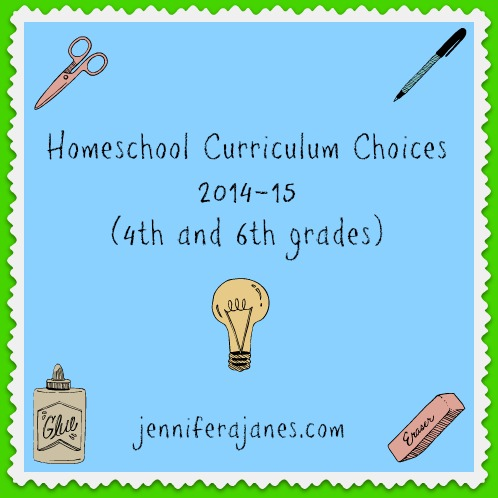Homeschool Curriculum Choices 2014-15 (4th and 6th grades) - jenniferajanes.com