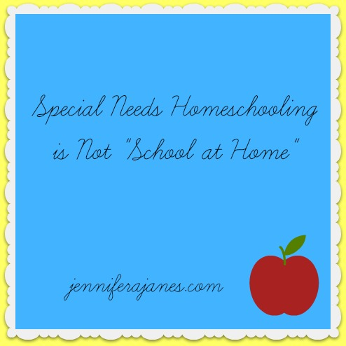 Special Needs Homeschooling is Not School at Home - jenniferajanes.com