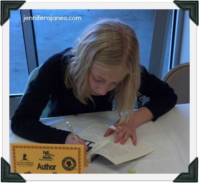 Writing stories and signing books for charity - jenniferajanes.com