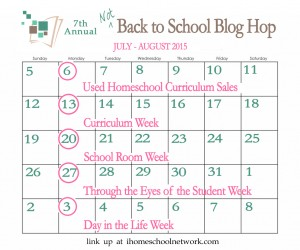 iHomeschool Network Not-Back-to-School Blog Hop Calendar 2015