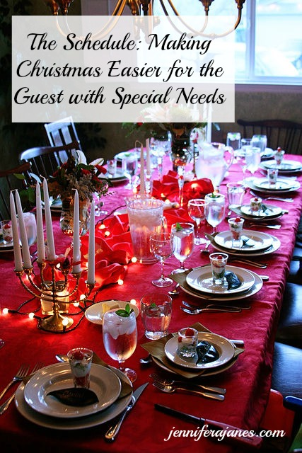 Want to make Christmas easier for a guest with special needs? Consider your schedule and planned activities. Day 3 of a 5-day series.